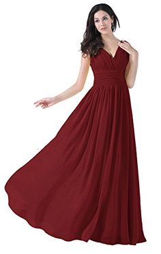 Diyouth Vneck Bridesmaid Chiffon Prom Dresses Long Evening Gown Burgundy Size 14 ** More info could be found at the image url.