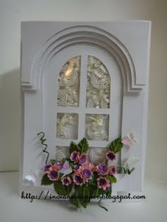 Window box card using paper piecing and punched flowers