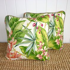 Tropical Orchid Outdoor Fabric Cushion or by SquareFoxDesigns