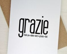 Grazie card thank you many languages greeting card by AvenirCards, $4.50