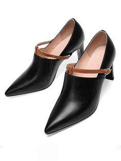 fb1ffe1d161f Solid Color Pointed Toe Line-Style Buckle Chunky Heel Heels