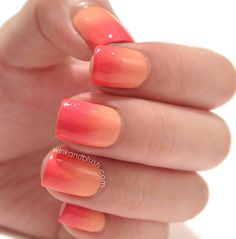 """""""Ombré nails is an easy and fun nail art for spring/ summer. Besides showing how I did my ombré nails, I'm also going to share some tips and tricks on how to blend the polishes, what kind of brush . Diy Nails, Cute Nails, Pretty Nails, Ombre Nail Designs, Diy Nail Designs, French Nails, Orange Ombre Nails, Nailed It, Hello Kitty Nails"""