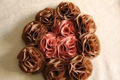 Bouquet ramo de flores de tela en marrocinto o tostado y nude o maquillaje 606619349 algodondeluna@gmail.com