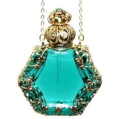 Gabriella\'s\ Gifts Czech Victorian Style Decorative Perfume Bottle Pendant Necklace Gold Plated