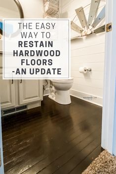 Restaining hardwood floors has never been easier with gel stain. Requiring minimal sanding, gel stain goes on thick and provides excellent coverage. An update on how they've held up 4 years later Hardwood Floors In Bathroom, Staining Hardwood Floors, Wood Floor Bathroom, Old Wood Floors, Painted Wood Floors, Walnut Floors, Engineered Hardwood Flooring, Diy Flooring, Stone Flooring