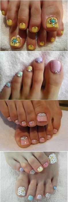 Toe Nail Art Using Rhinestones