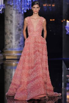 Elie Saab | Fall 2014 Couture | 16 Pink embellished belted strappy maxi dress