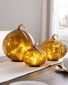 Give your fall décor a bright, modern look with elegant glass accents. Slim Tree, Biggest Pumpkin, Pumpkin Decorating, Fall Decorating, Balsam Hill, Wreaths And Garlands, Halloween Displays, Glass Pumpkins, Harvest Season