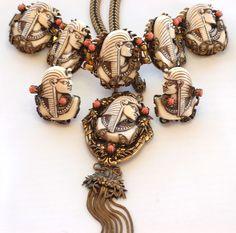 Selro Egyptian Pharaoh Tassel Necklace, Bracelet, Earring Parure...Amazing! http://www.rubylane.com/item/1004721-EG000781/Selro-Pharaoh-Egyptian-Necklace-Bracelet