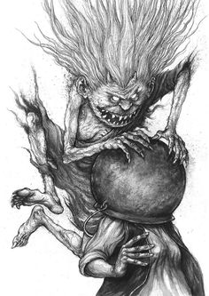 Serbian Karakondzula has a human form - she is old and skinny women, with long messy hair, long nails... Karakondzula attack Serbian housewife's with a cauldron dropping on the victim's head.