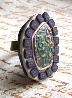 Purple cocktail ring mosaic rustic purple off-white polymer clay statement art ring unique jewelry