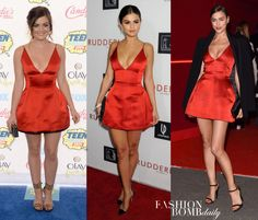 _Selena-Gomez-vs.-Irina-Shayk-vs.-Lucy-Hale-in-Christian-Dior-Red-Satin-Dress