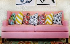 Centsational Girl: 5 ways to mix patterns, pink couch, yellow chevron, aqua floral, black and white dots, pink floral pillows