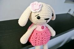 Crochet Amigurumi Bunny Rabbit Material: Soft cotton yarn stuffed with polyester fiber fill This item is made to order Dimension: 25cm tall This doll is handmade by myself from a design and pattern by Mari-Liis Lille (www.lilleliis.com)