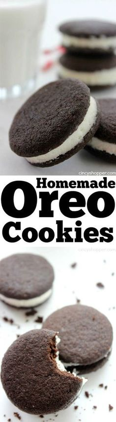 Cookies Homemade Oreo Cookies - Make your favorite cookie at home. All that's missing is the stamp. Better than store bought.Homemade Oreo Cookies - Make your favorite cookie at home. All that's missing is the stamp. Better than store bought. Homemade Oreo Cookies, Oreo Cookie Recipes, Homemade Candies, Yummy Cookies, Yummy Treats, Baking Recipes, Sweet Treats, Yummy Food, Shortbread Cookies
