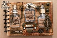 This is the amazing altered Kraft Envelope Album using only stamps and pieces of old books. Amazing tutorial also on this board! So amazing! #graphic45 #stamps