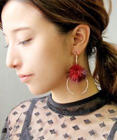 ファーアクセサリー Pink Earrings, Bead Earrings, Fabric Jewelry, Beaded Jewelry, Jewellery, Fashion Earrings, Fashion Jewelry, Pinterest Jewelry, Beautiful Earrings