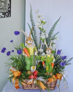 Add this adorable bunny centerpiece this Easter season! Created by Anna's Flowers Inc. Hoppy Easter, Easter Bunny, Basket Flower Arrangements, Easter Flowers, Easter Season, Diy Easter Decorations, Easter Wreaths, Spring Wreaths, Easter Celebration