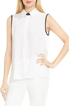 Free shipping and returns on Vince Camuto Pleat Back Blouse at Nordstrom.com. Contrast trim adds modern polish to a light and easy crepe blouse with flowy pleats billowing out the back.