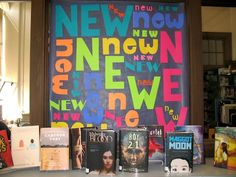 New Books Library Bulletin Board. School Library Displays, Middle School Libraries, Elementary School Library, Library Inspiration, Library Ideas, Library Signage, Teen Library, Library Bulletin Boards, Library Activities