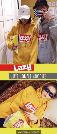 Super Cute Korean Lazy Hoodies, matching couple hoodies for boyfriend girlfriend husband and wife. #korean #kpop #cute #couplehoodies #aesthetic #cutecouples #couplepics #couplesgoals  #couples #couplegoals #coupletattoos #giftsforher #giftsforhim #relationships #relationshipgoals #relationshiptips #swag #matching #couplethings #coupleshower #want #wishlist #musthave #pretty #harajuku #style #latestrend #trendingnow #lovers #cuteclothes Cute Couple Hoodies, Matching Hoodies For Couples, Disney Couple Shirts, Matching Couple Outfits, Couple Clothes, Couple Stuff, King And Queen Sweatshirts, Harajuku Style, Korean Aesthetic