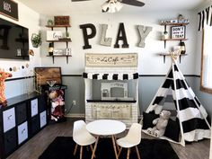 21 Best Playroom Design Ideas Inspiration for Kids Playroom ideas-- to stimulate imagination and imagination in your kid. Open up your playroom. Create a blackb Playroom Design, Playroom Decor, Boys Playroom Ideas, Gray Playroom, Small Playroom, Playroom Shelves, Playroom Flooring, Children Playroom, Toddler Playroom