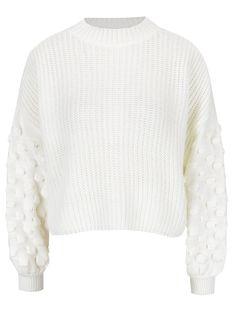 Pulover crem scurt cu maneci lungi si ample - Miss Selfridge Miss Selfridge, Men Sweater, Model, Sweaters, Fashion, Moda, Fashion Styles, Scale Model, Sweater