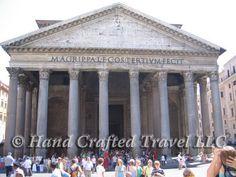 Travel Picture: Day 354. The front porch of the Pantheon in Rome, Italy. Built around 120 AD by the Emperor Hadrian, the inscription on the front indicates that it was built by Marcus Agrippa (son of Lucius, in his third consulate), though Agrippa was actually responsible for an earlier structure on the same spot.