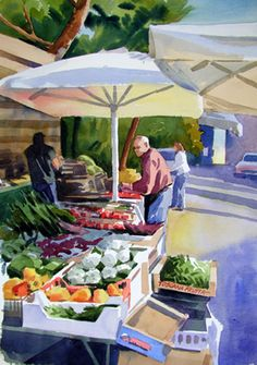 Barbarino Market Day watercolor painting by Jill Stefani Wagner