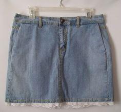 Womens Tommy Hilfiger Light Blue Denim Jean Short Skirt Size 12 White Lace #TommyHilfiger #Mini