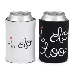 A fun phrase design adds a personal feel to these Mr. & Mrs. cooler covers. This cute his-and-her set is the perfect way to add a decorative, romantic look to your soda cans.