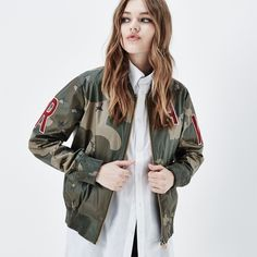 G-Star Raw Sports Zip Aw Bomber Jacket ($290) ❤ liked on Polyvore featuring outerwear, jackets, military inspired jacket, patch jacket, flight jacket, zip bomber jacket and patch pocket jacket