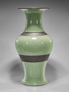 Tall Chinese Celadon Crackle Glaze porcelain vase; of baluster form with brown floral bands along the shoulder and low body, incised mark; H: 24""