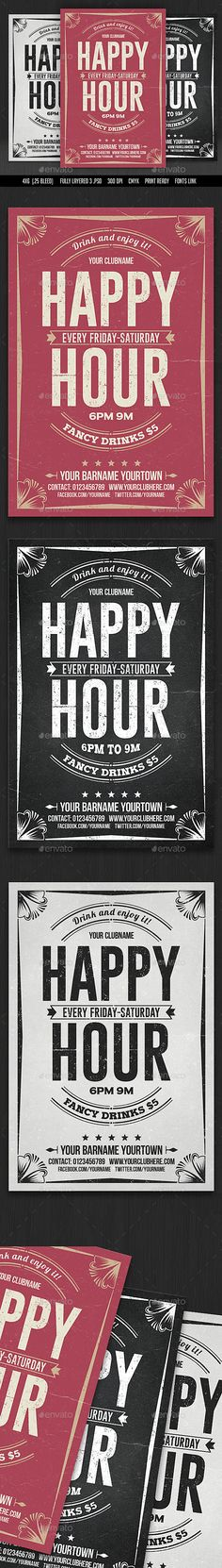 Happy Hour Flyer — Photoshop PSD #print #chalkboard flyer • Available here → https://graphicriver.net/item/happy-hour-flyer/16384697?ref=pxcr
