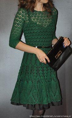 crochelinhasagulhas: Vestido verde em crochê