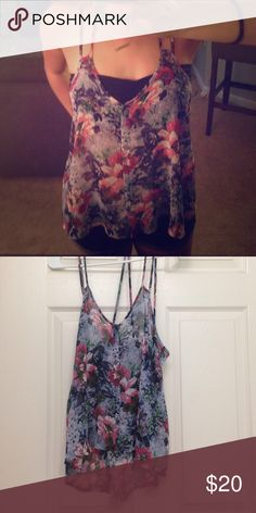 Strappy sheer flower tank size small Looks supper cute with a bandeau underneath! Worm a few times this summer but no noticeable wear Lush Tops Tank Tops