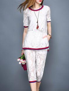 Shop Jumpsuits - White Casual Guipure Lace Crew Neck Jumpsuit online. Discover unique designers fashion at StyleWe.com.