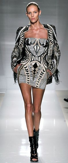 Balmain | black and white | prism-like prints | epaulets | mini dress | high fashion | Anja Rubik