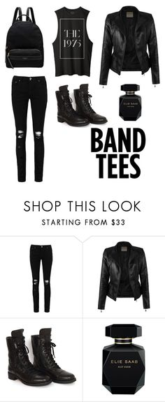 """""""I listen to the band on my shirt"""" by peterslauren ❤ liked on Polyvore featuring Boohoo, Chanel, Elie Saab and Radley"""