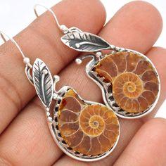 Fossil-Ammonite-925-Sterling-Silver-Earrings-Jewelry-SE64193