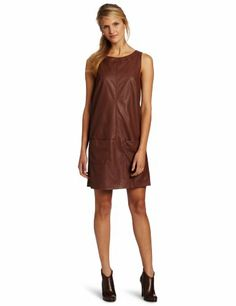 Anne Klein Women's Faux Leather Shift Dress « Clothing Impulse