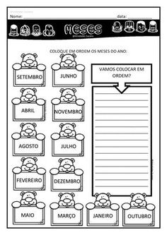 School Time Printable Pack - Copy & Go Math and Literacy Activities Learn Brazilian Portuguese, Portuguese Lessons, Go Math, Classroom Bulletin Boards, School Worksheets, 100 Days Of School, Literacy Activities, Social Studies, Teaching