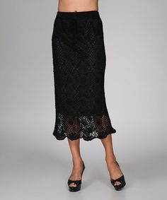 This Ananda's Collection Black Crocheted Scallop Midi Skirt by Ananda's Collection is perfect! #zulilyfinds