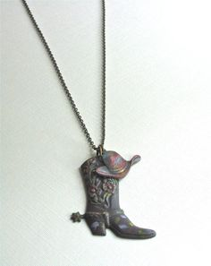 Cowgirl Necklace  Boot Hat  Western Jewelry Texas by mcstoneworks, $27.00