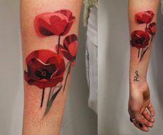 http://www.noregretsstudios.co.uk/watercolour-like-tattoos-by-sasha-unisex/ Poppy Flower Tattoo By Sasha Unisex