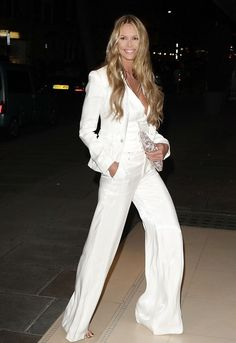 Elle Macpherson em look masculinizado all in white  é o must fashion - Cleon Gostinski - Fonte Im not Obsessed