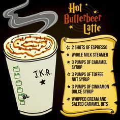 Nerd is the word! Hot Butterbeer Latte from Starbucks. Just show the barista this pic and they'll make it for you. Butterbeer Latte, Butterbeer Recipe, Harry Potter Drinks, Harry Potter Food, Fun Drinks, Yummy Drinks, Beverages, Party Drinks, Starbucks Secret Menu Drinks