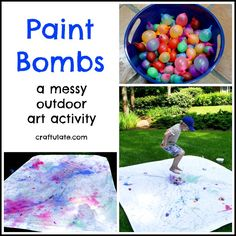 Make messy art outside this summer with these paint bombs!