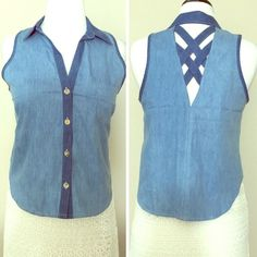 $7 SALE Denim Sleeveless Top Super cute top. Must have for summer. So versatile! Wear it with a skirt, shorts or pants & you're good to go! Love the back criss criss detail. It has a small pocket on the front left. It has four buttons in the front. 100% cotton it's soft & comfortable. It comes with an extra button. Please no trading. I offer bundle discount. Boutique Tops