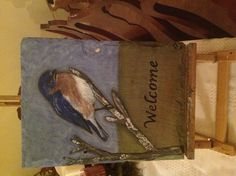 Blue Bird on slate painted by Debra I. Galarneau